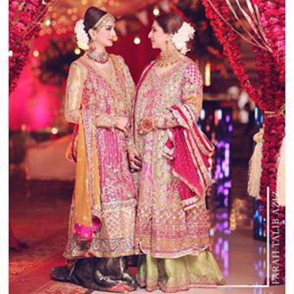 Picture of Gorgeous Alina with her mother in signature Farah Talib Aziz kalidaar angarkhas