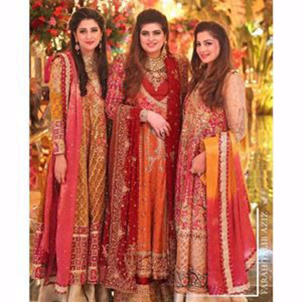 Picture of Gorgeous sisters in signature Farah Talib Aziz kalidaar angarkhas
