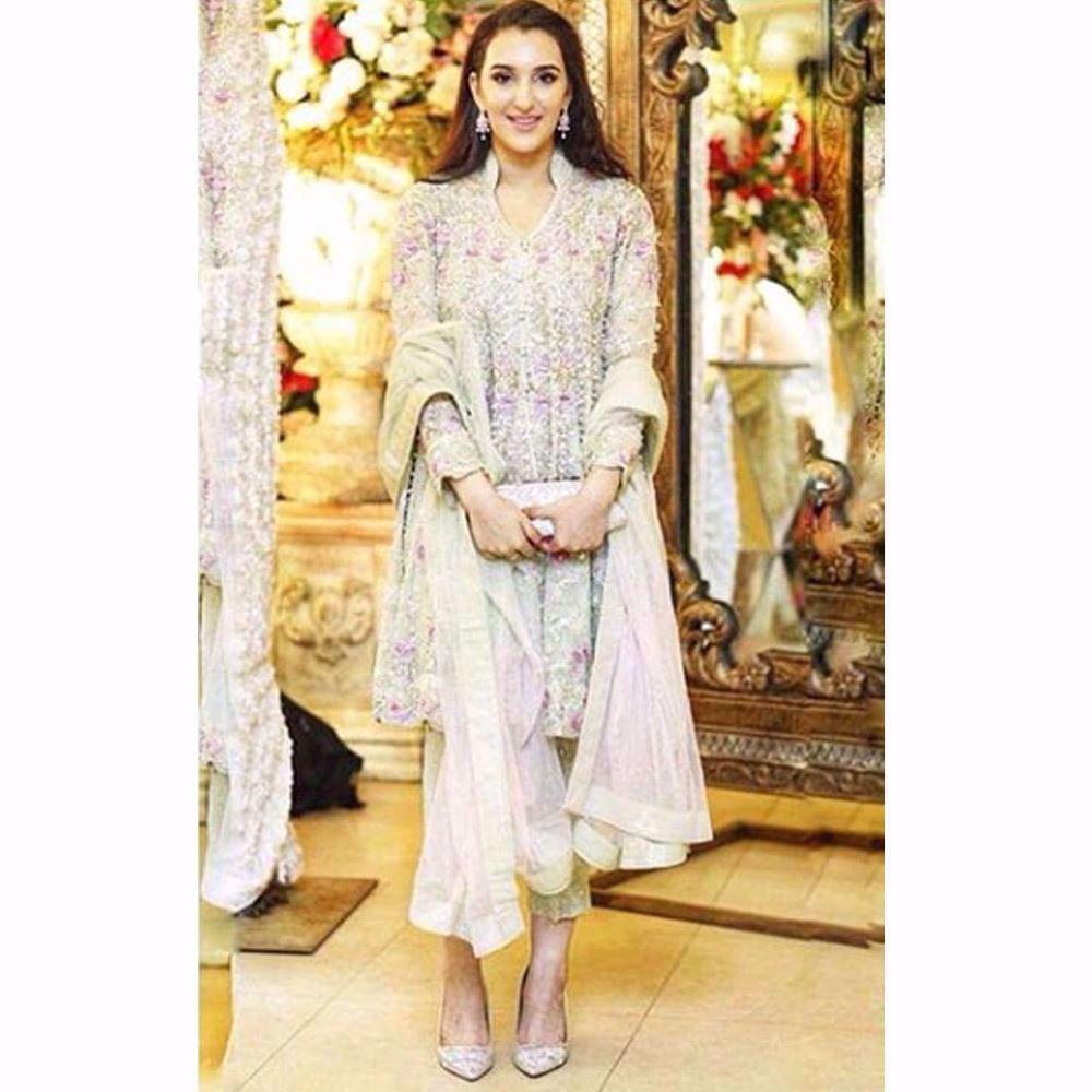 Picture of Samah Mudassir beautiful in a soft pistachio Farah Talib Aziz wedding wear ensemble
