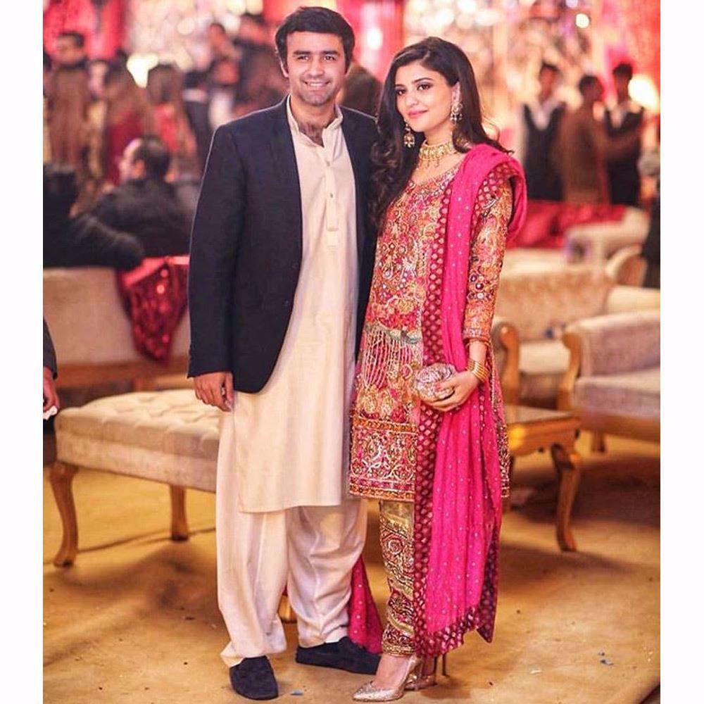 Picture of Gulrukh Shafiq, looking beautifully festive in a Farah Talib Aziz wedding ensemble