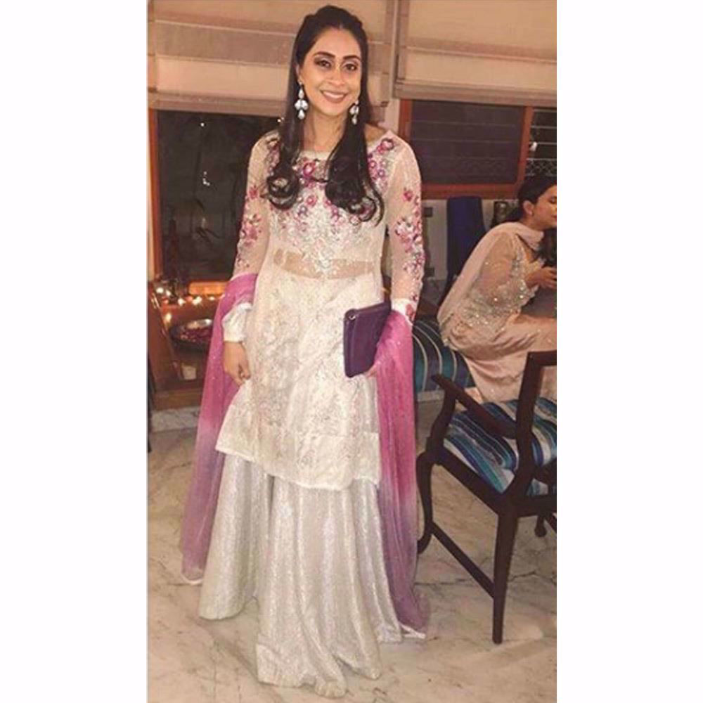 Picture of Maha looking beautiful in a silver and orchid Farah Talib Aziz ensemble