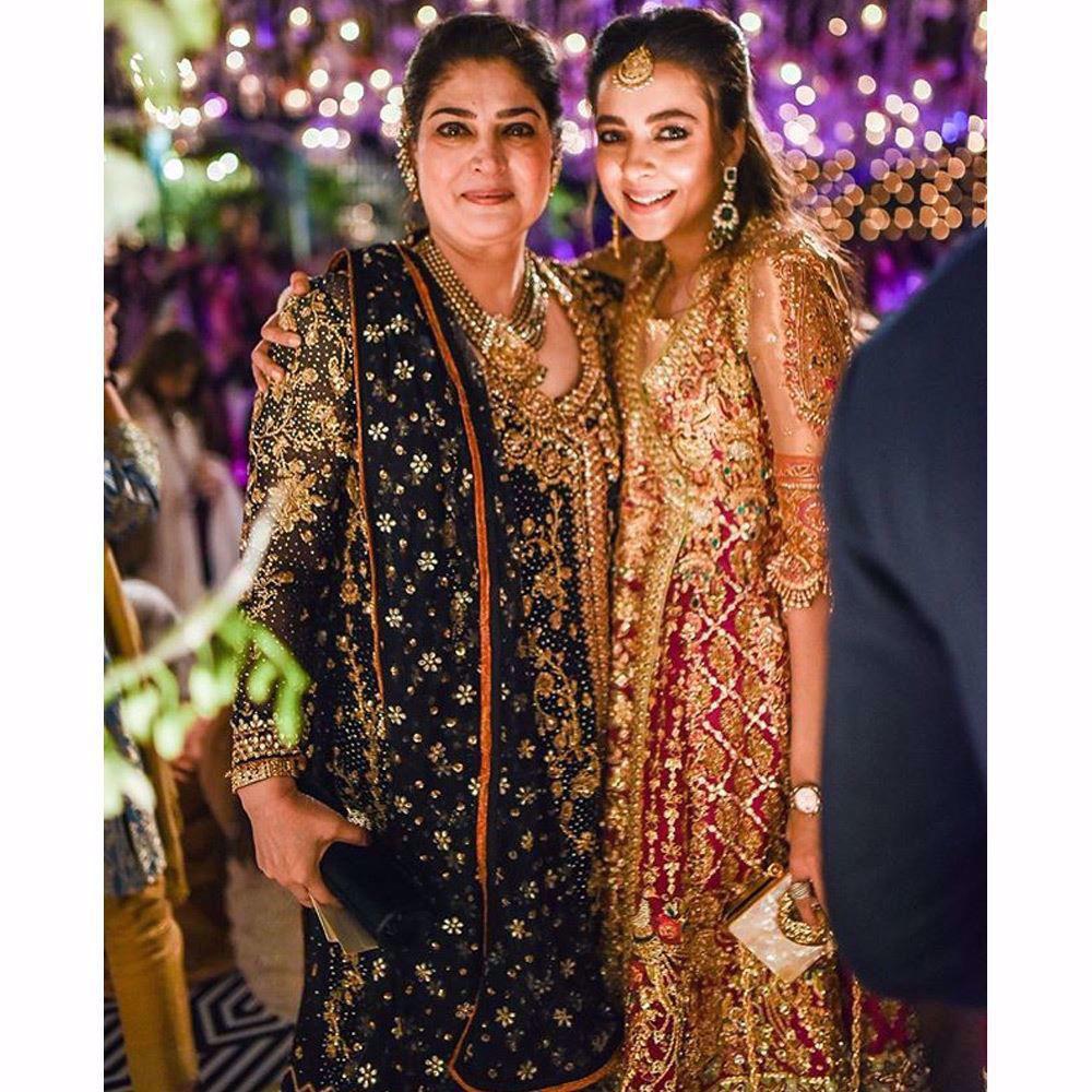 Picture of The gorgeous mother of the bride Asma Malik along with Maliha Aziz looking beautiful in Farah Talib Aziz angarkhas