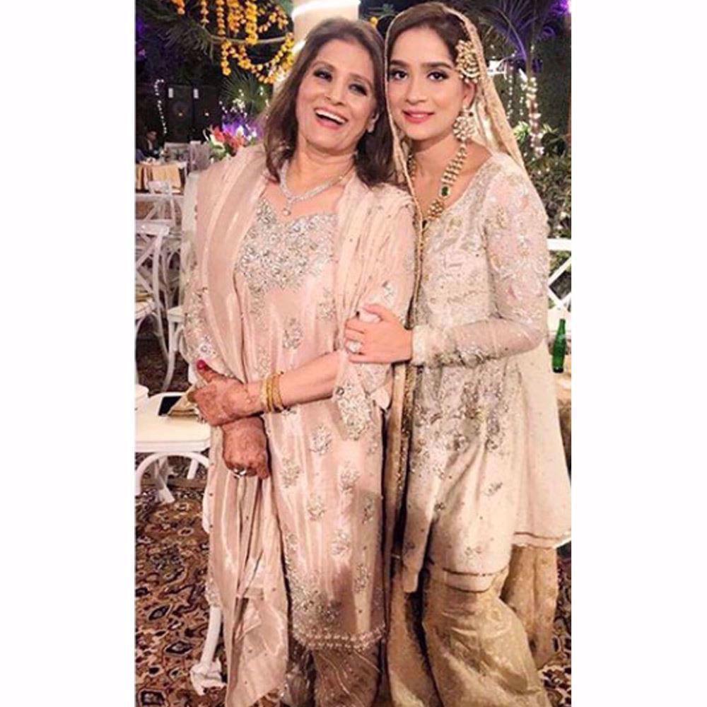 Picture of Aminah Tariq and her mother, Beena Tariq both looking pretty in Farah Talib Aziz pastels