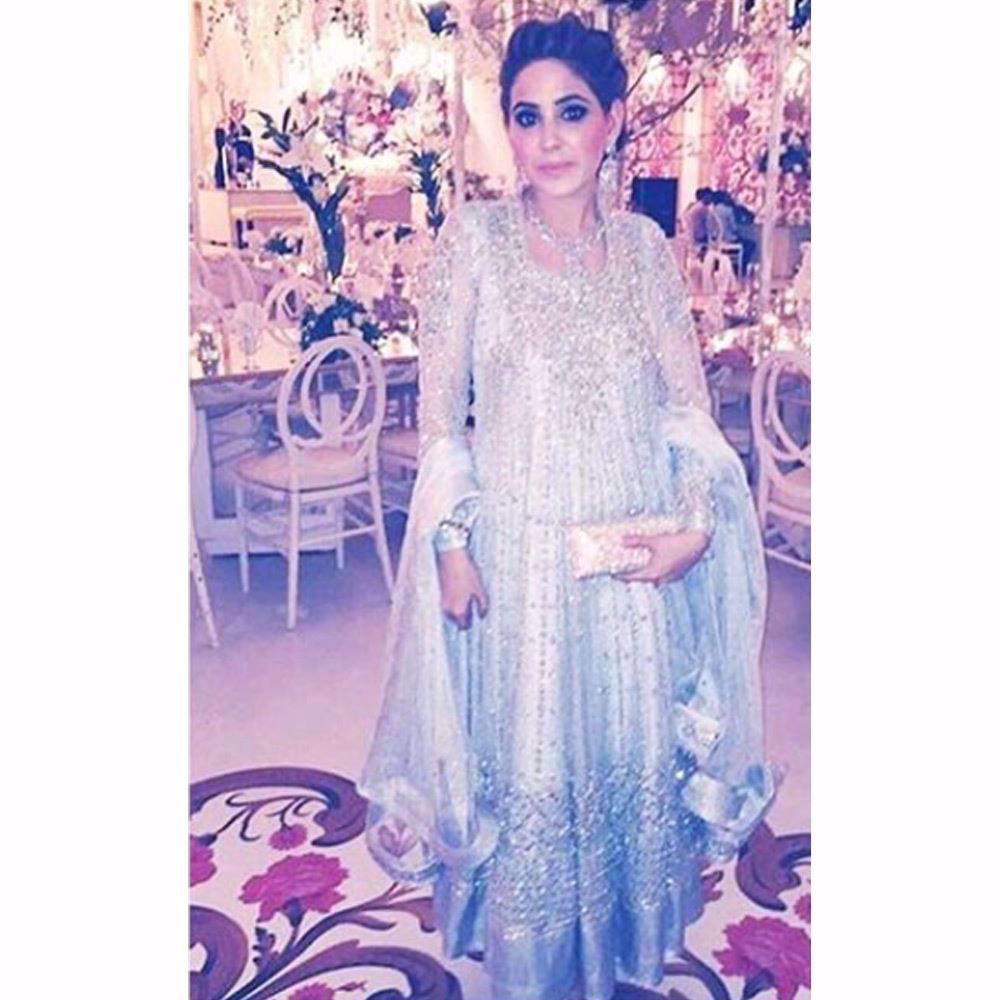 Picture of Ice blue Farah Talib Aziz kalidaar peshwas on the gorgeous Seher Ahmed