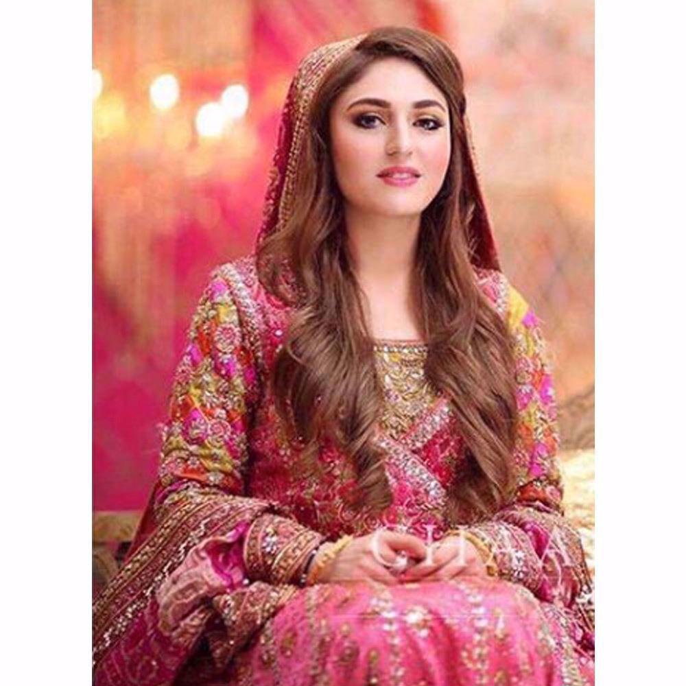 Picture of Fatima looks beautiful in a classic Farah Talib Aziz angarkha in festive shades of pinks!