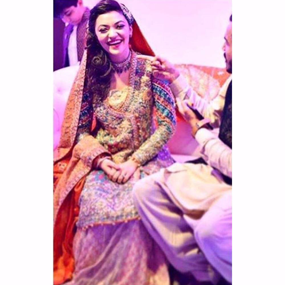 Picture of Navira, absolutely beautiful in a Farah Talib Aziz custom made kalidaar angarkha