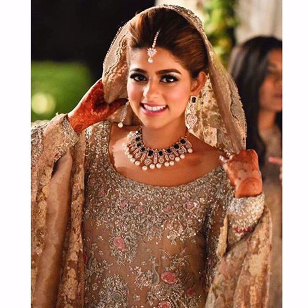 Picture of Bareeha, elegantly beautiful in a French Chantilly Farah Talib Aziz bridal
