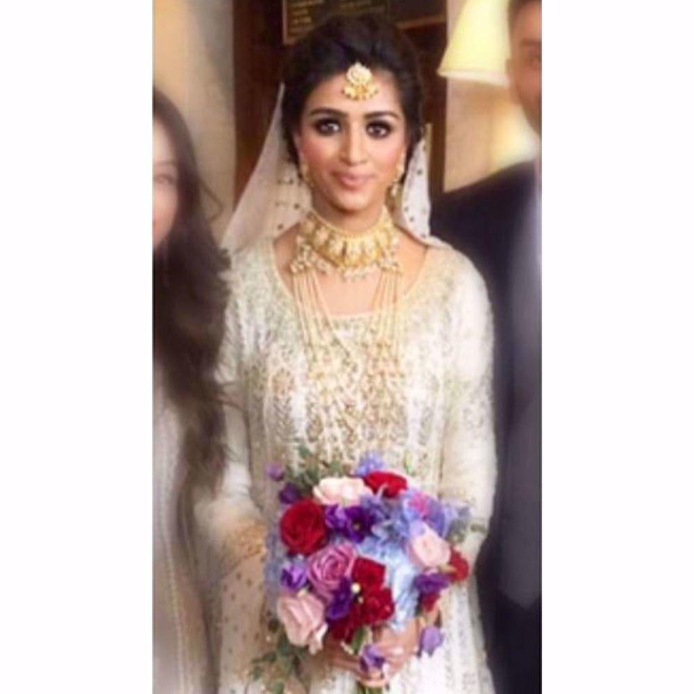 Picture of Aniqah Ali Malik beautiful in ivory kalidaar Farah Talib Aziz ensemble