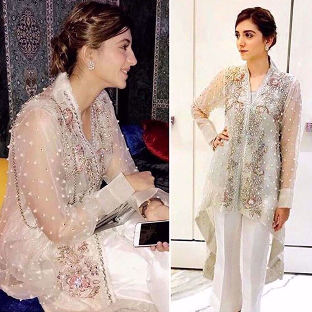 Picture of Ayesha Nagani in an ivory Farah Talib Aziz outfit