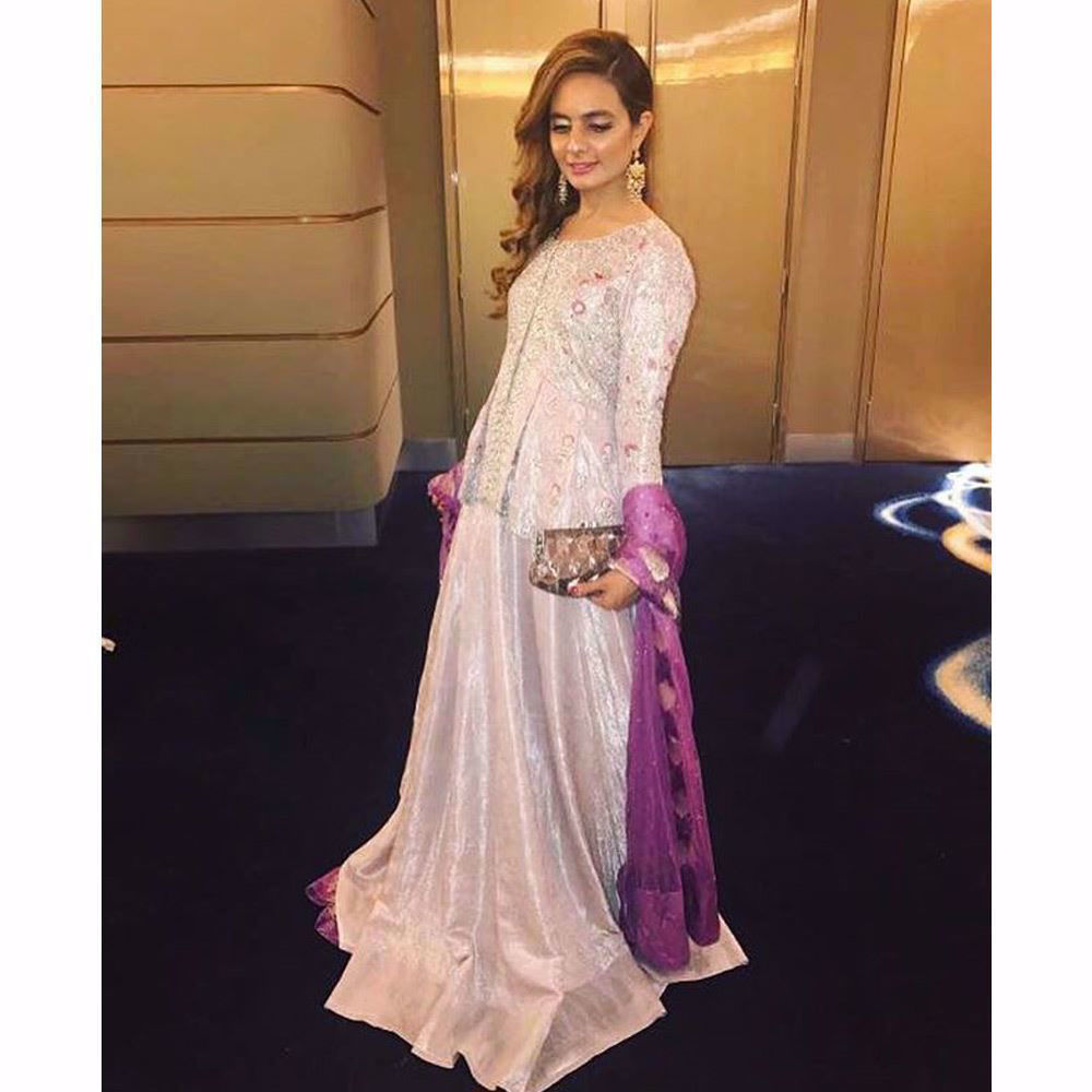 Picture of Amirah looking beautiful in a lavender Farah Talib Aziz custom made peplum choli and lengha