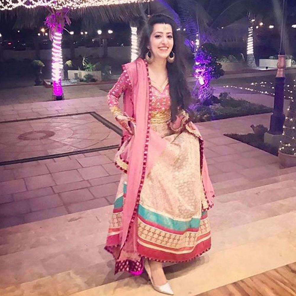 Picture of Peachy pinks and silver Farah Talib Aziz ensemble