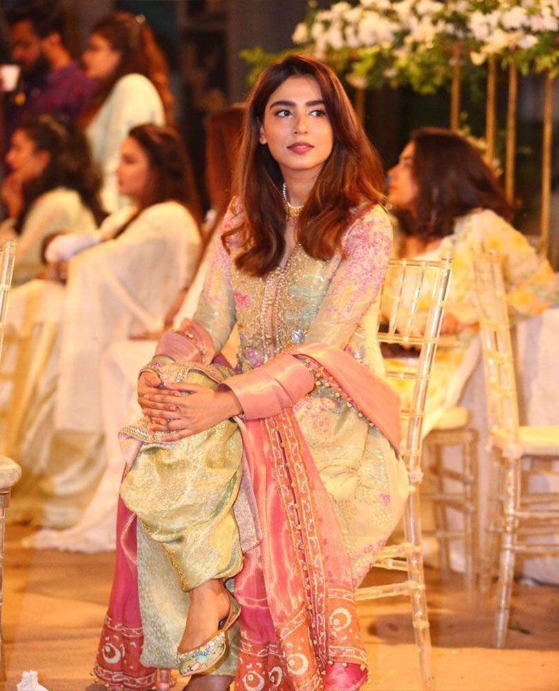 Picture of He beautiful Mansha Pasha is a vision to behold in mint green and candy pink #FarahTalibAziz ensemble