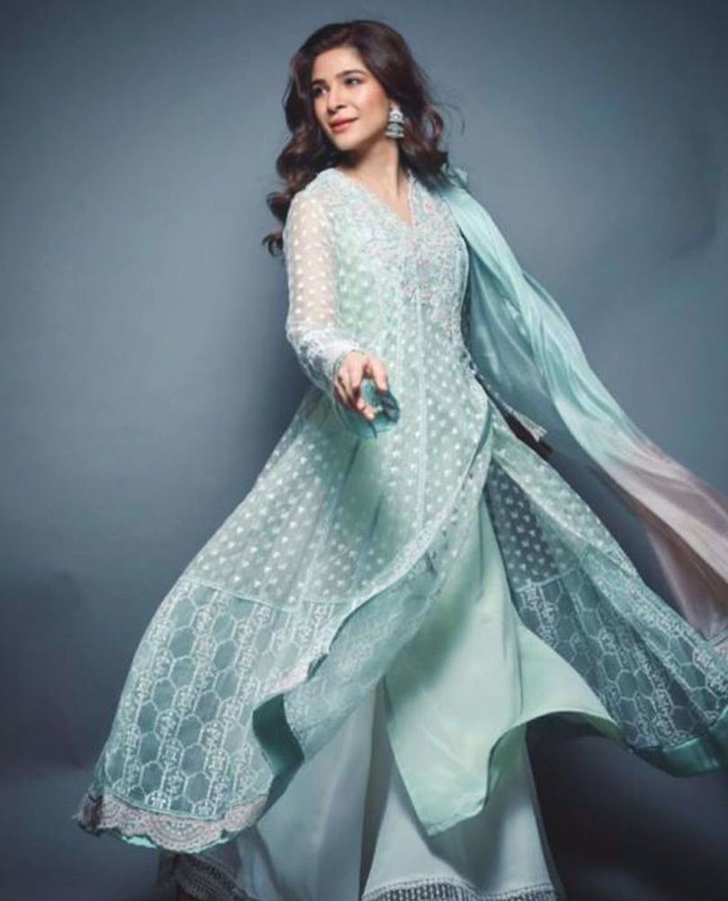 Picture of Ayesha Omar giving life to our day in an aqua hand embellished #FarahTalibAziz luxe Pret outfit that's perfect to brighten your Ramadan and Eid celebrations