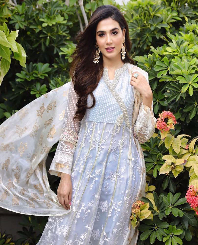 Picture of #ManshaPasha beautiful in an ice blue hand embellished #FarahTalibAziz luxe Pret outfit that's perfect for all festivities!