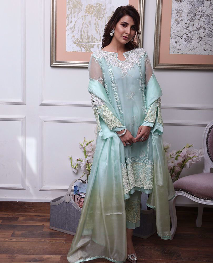 Picture of #AreebaHabib celebrating Eid in laid back luxe that's effortlessly chic. Wishing you and your loved ones a blessed, safe Eid and a year full of happiness and the best of health