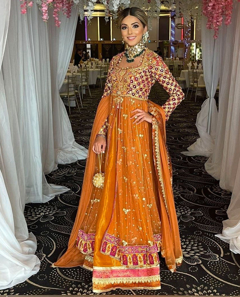 Picture of Shanza is a picture of grace in a signature #FarahTalibAziz ensemble in eye catching, festive hues.